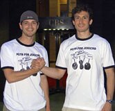 Brothers in arms.  <i>Jericho</i> fan Dylan and our Chief Nut Jeffrey in front of CBS sporting nice shirts.